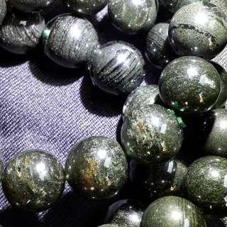 🚚 綠幽靈千層手珠-13.6mm53.3克