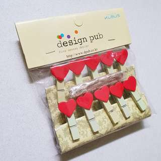 Wooden Pegs Hearts Paper Clips