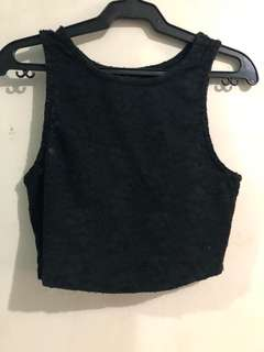 Forever 21 Black Lace Cropped Top (S-M)