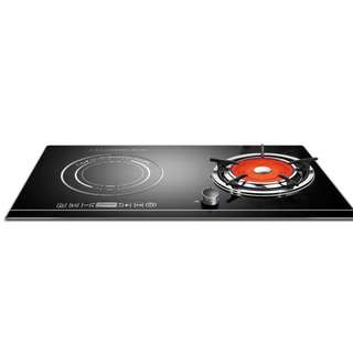 Double Dual Stove Induction Gas Glass Top
