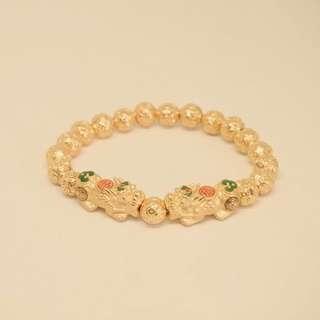 999 pure gold pixiu full money ball bead bracelet