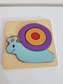 Wooden mini snail puzzle
