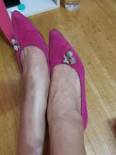 🚚 低根桃紅尖頭包鞋