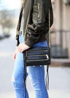 Rebecca Minkoff 5 zip bag in green suede
