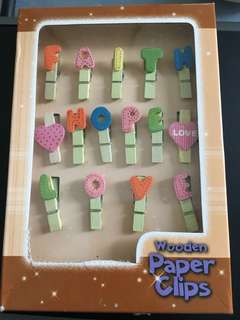 Wooden paper clips with letter