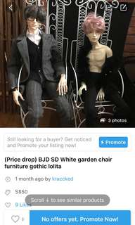 Bjd lolita garden chair for Uncle size SD
