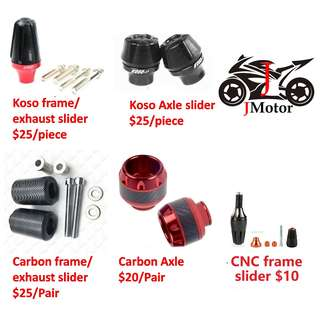 CNC koso Front Axel Slider / Carbon fibre / rear frame/engine exhause