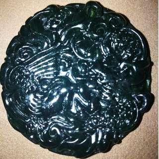 (1)48MM Chinese black green jade Jadeite pendant necklace hand-carved dragon phoenix