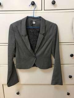 🚚 H&M 短版灰色西裝外套