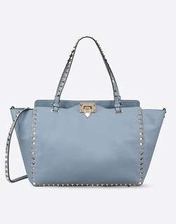 VALENTINO GARAVANI  Rockstud Medium Leather Tote Bag (Dusty Blue)