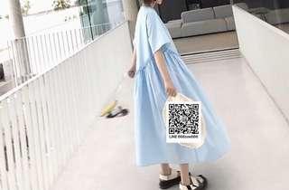 ioz 日系清新oversize 短袖娃娃連身裙