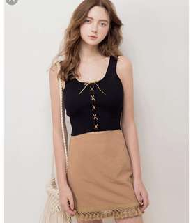 Suede lace top (WHITE)