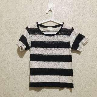 B&W Striped Lace Shirt