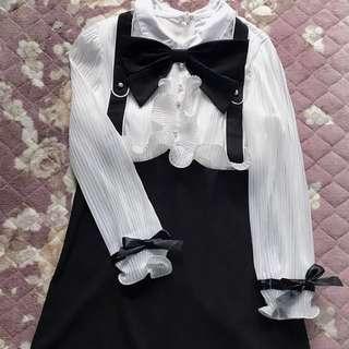 日系少女💕顯瘦高腰假兩件吊帶洋裝☺️