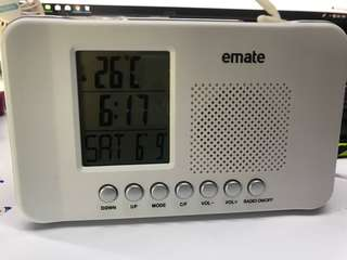 eMate Table clock new white color. Shows date/Alarm/ time / Radio