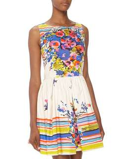 e04339081725 Red valentino floral and stripe flare dress