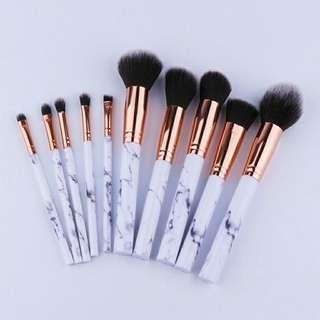 Ready Stocks 10pcs Marble Design Makeup Brush Set