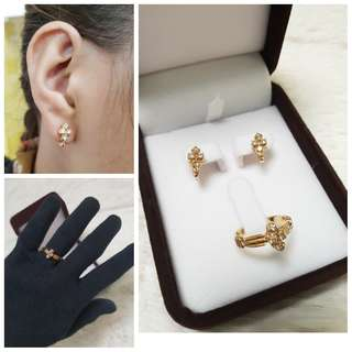 14K Yellow Gold Diamond Set Earring & Ring