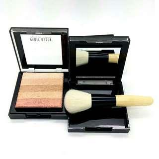 Bronzer Powder Blush and Highlighter Makeup Party Queen Pro Eye shadow Palette set Tanning Powder with Hoola Bronzer Stick Brush