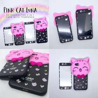 Pink Cat Luna Character Case with Tempered iPhone 5 5s se 6+ 6s+ 6 6s plus 7 8 7+ 8+  Samsung J7 Prime Plus Vivo V7 Plus V7+