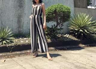 Blk/Wht Stripes Jumpsuit
