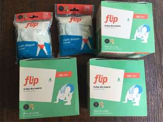 BNIB Flip stay-dry inserts and cloth diaper cover