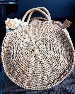 Large round rattan bag