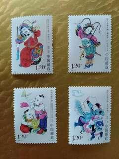 中國郵票2007-4 绵竹木版年画 雕刻版 一套四全全新