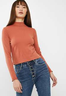 Cotton on burnt orange mock neck lettuce hem