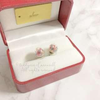 MADE IN KOREA Pretty Rainbow Colour Crystal Ball Earrings 彩色水晶波波耳環