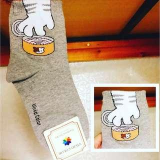 🌟韓國中筒襪 灰猫