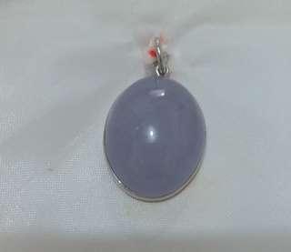 天然A紫玉鑲銀吊咀