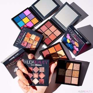 Huda Beauty Mini Obsessions eyeshadow palettes - Coral, Gemstone, Smokey, Mauve
