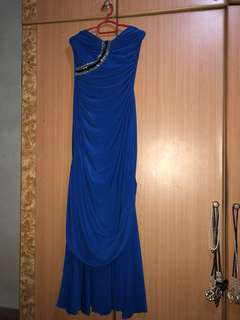 L Royal Blue Tube Evening Gown