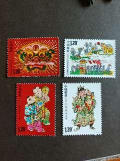 中國郵票2009-2漳州木版年画一套4全全新