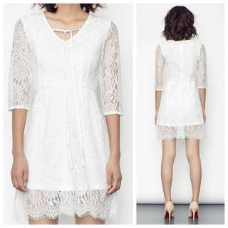 Amber Avenue Melora Lace Dress in White