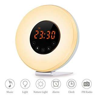 639. Sunrise Alarm Clock, Wake Up Light Digital Alarm Clock With Sunrise/Sunset Simulator,7 Colors Night Light, Nature Sounds and FM Radio, Touch Control and Snooze Function For Heavy Sleepers