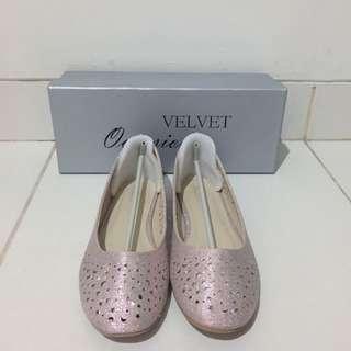 Velvet Glitter Pink Flatshoes