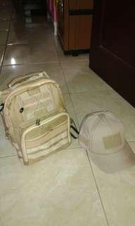 Tas slingbag dan topi velcro