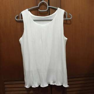 BN Pleated White Sleeveless Tank Top
