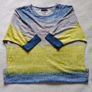 WOMAN Plus Size Two Toned Semi Sheer Batwing Shirt / Top