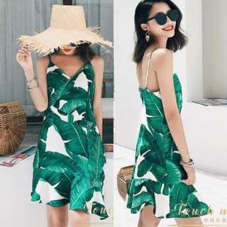Leaves Ruffle Dress