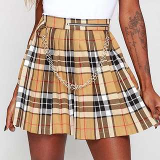Nude Plaid Chain Skirt