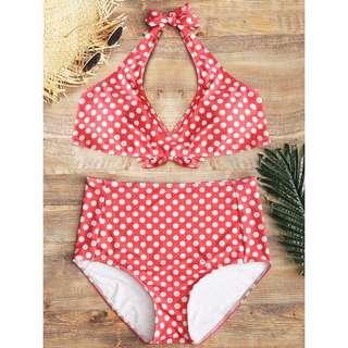 Polka dots plus size high waisted bikini