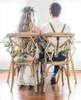 Wedding Bride Groom Chair Sign (Spray Painted Gold) (For Rent)