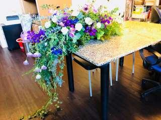 瀑布型桌花