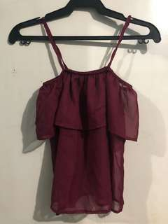Maroon Off-shoulder Top (XS-S)