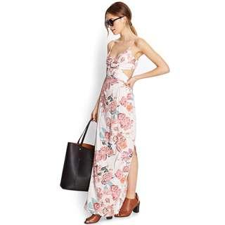 F21 Floral Cut Out Maxi Dress