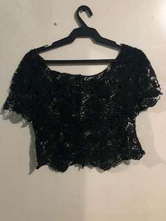 Black Lace Cropped Top (XS-S)