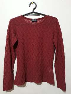 Red lace longsleeve top